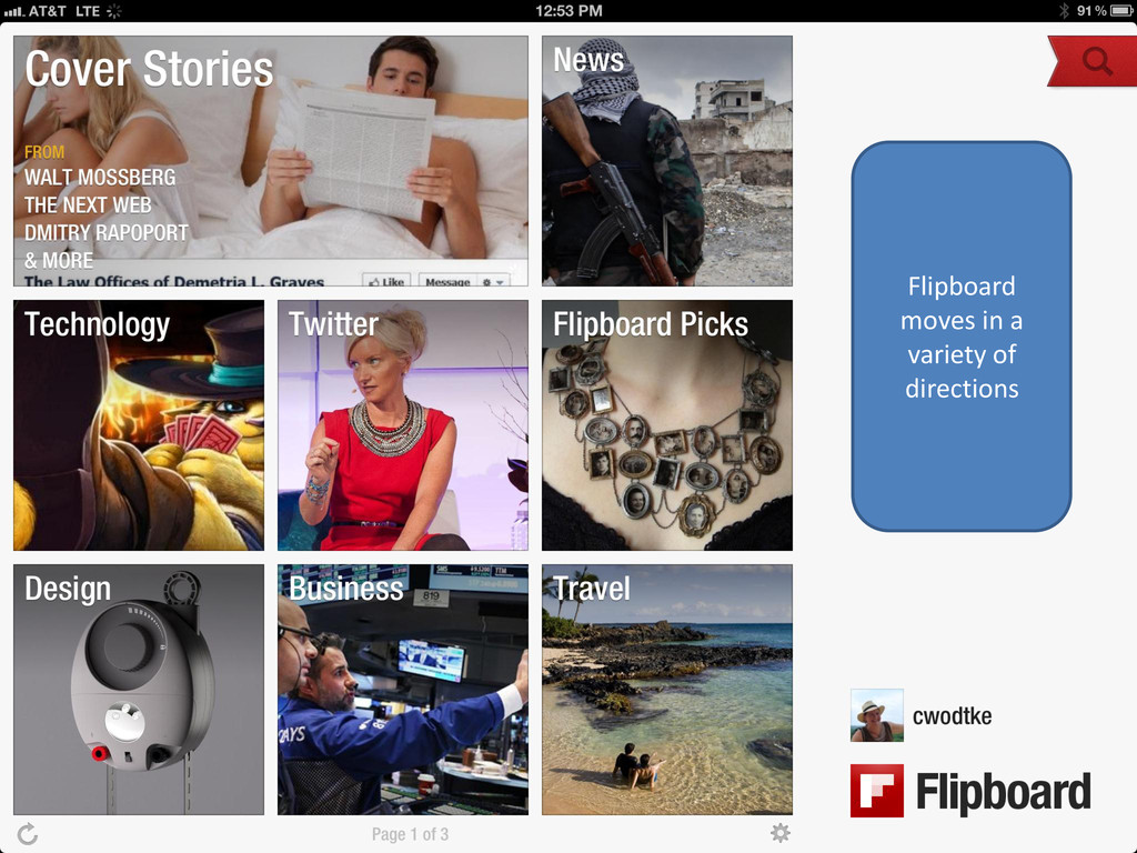 Flipboard moves in a variety of directions