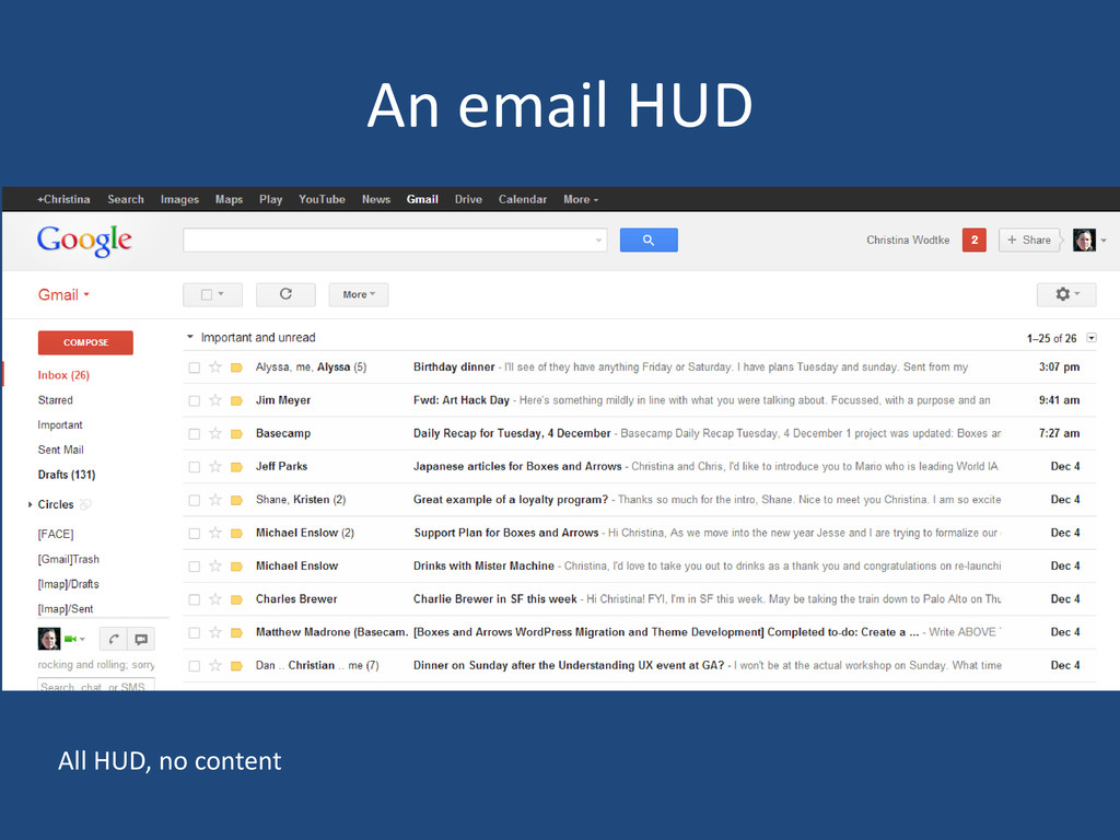 An email HUD All HUD, no content