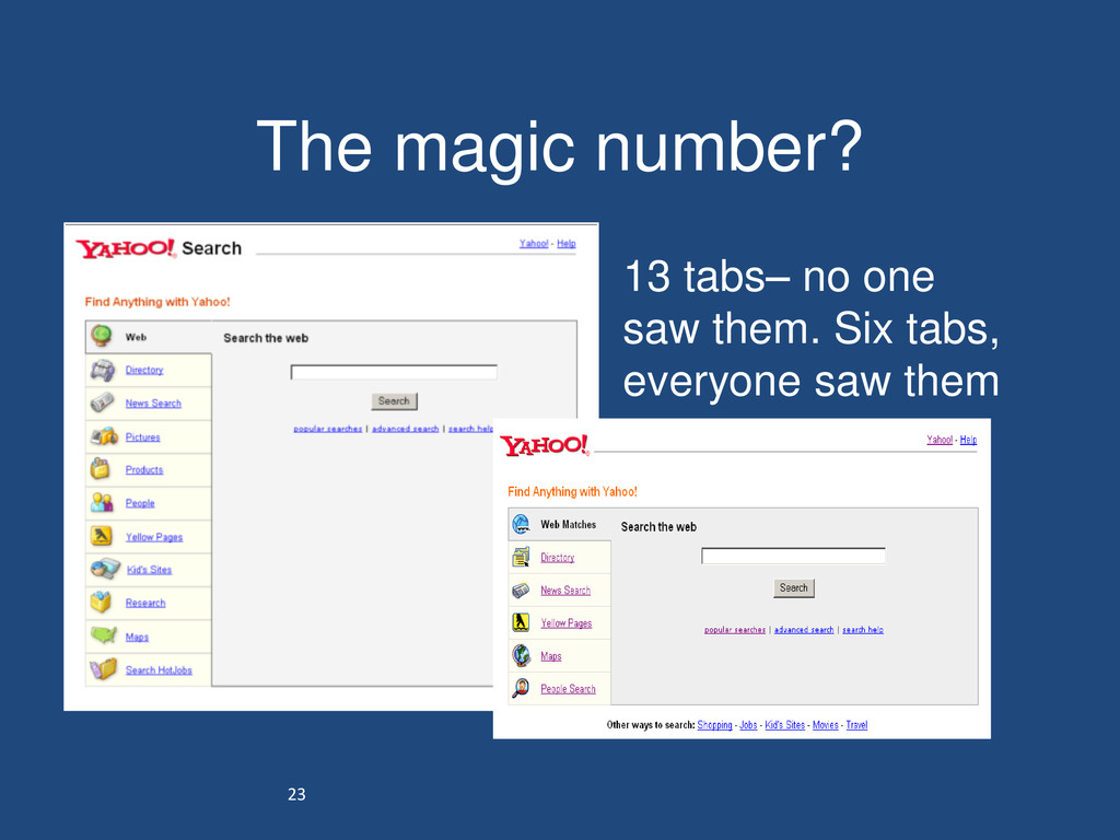 23 The magic number? • 13 tabs– no one saw them...