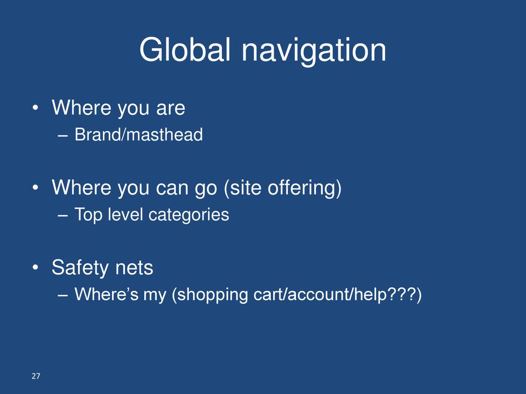 27 Global navigation • Where you are – Brand/ma...