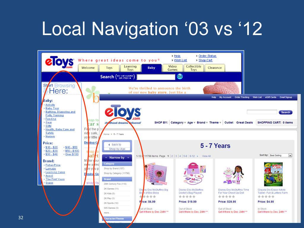 32 Local Navigation '03 vs '12