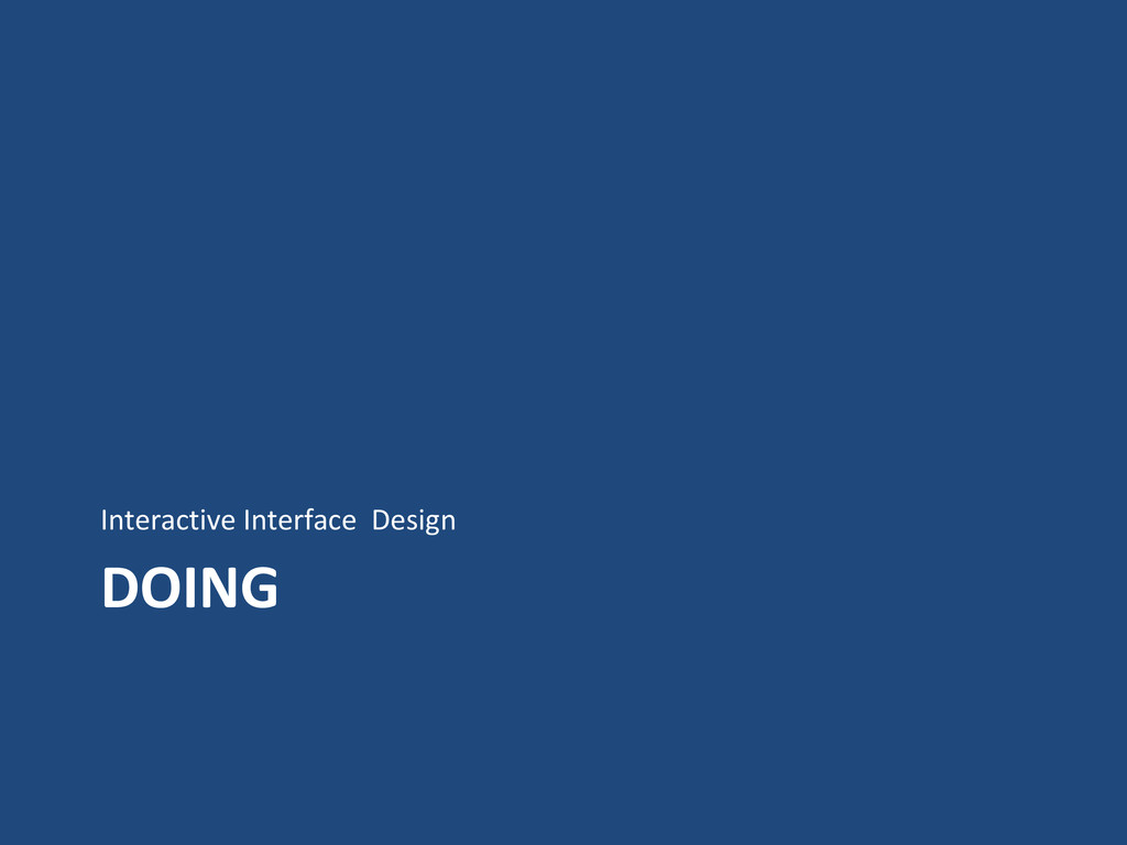 DOING Interactive Interface Design