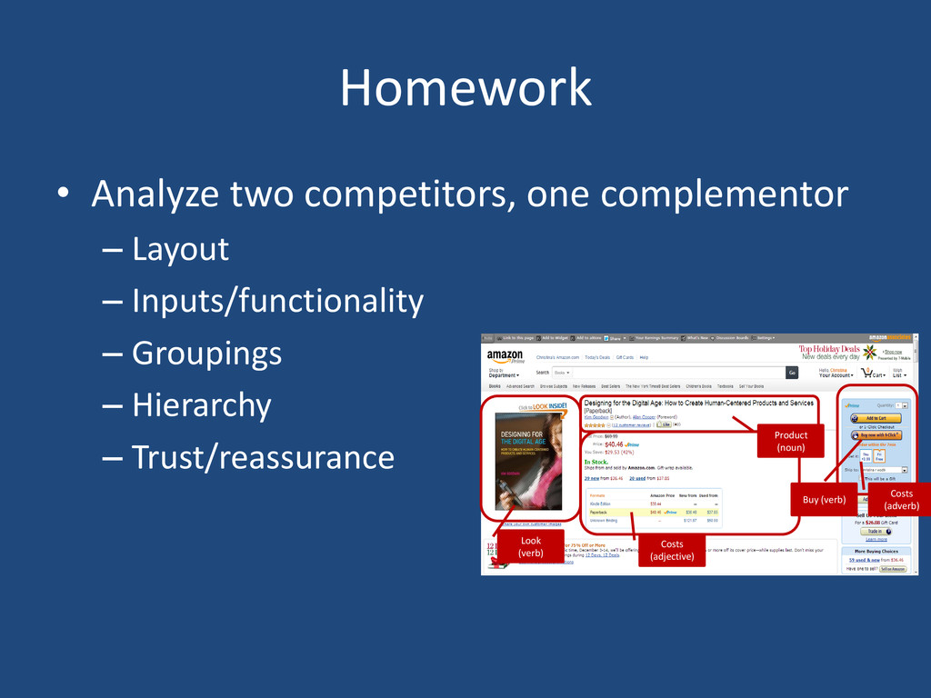Homework • Analyze two competitors, one complem...