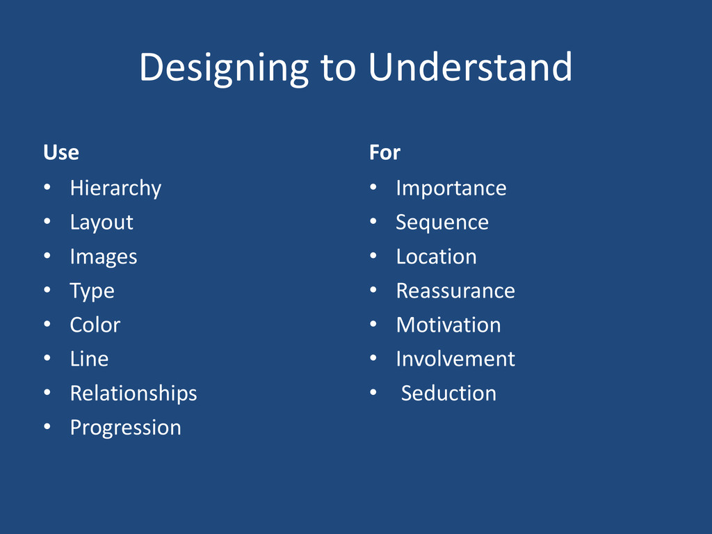 Designing to Understand Use • Hierarchy • Layou...