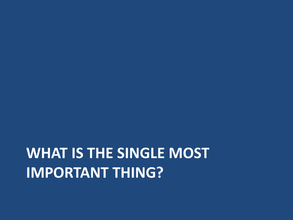 WHAT IS THE SINGLE MOST IMPORTANT THING?