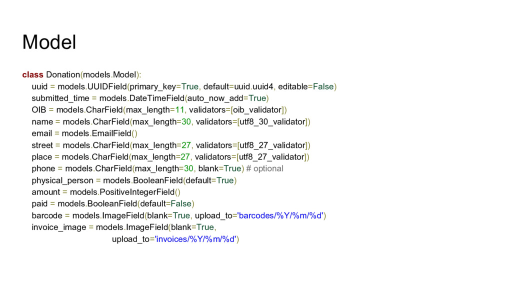 Model class Donation(models.Model): uuid = mode...