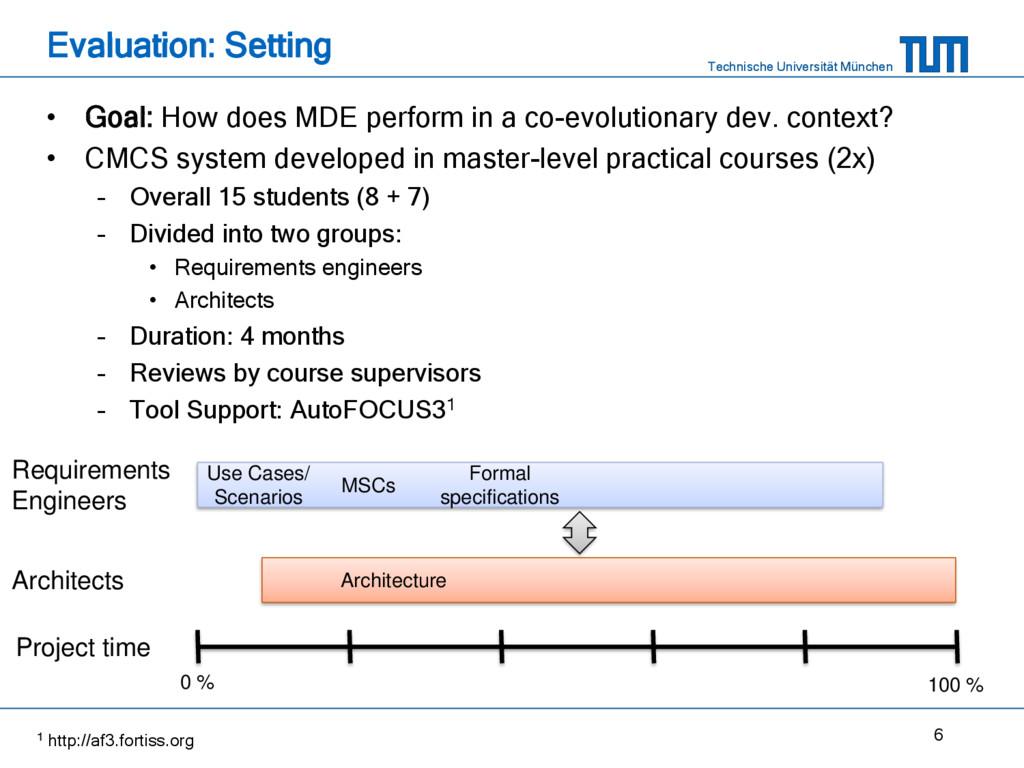 Technische Universität München Evaluation: Sett...