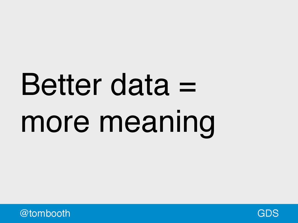 GDS @tombooth Better data = more meaning