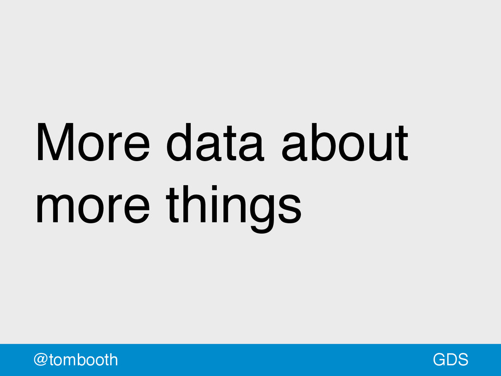 GDS @tombooth More data about more things