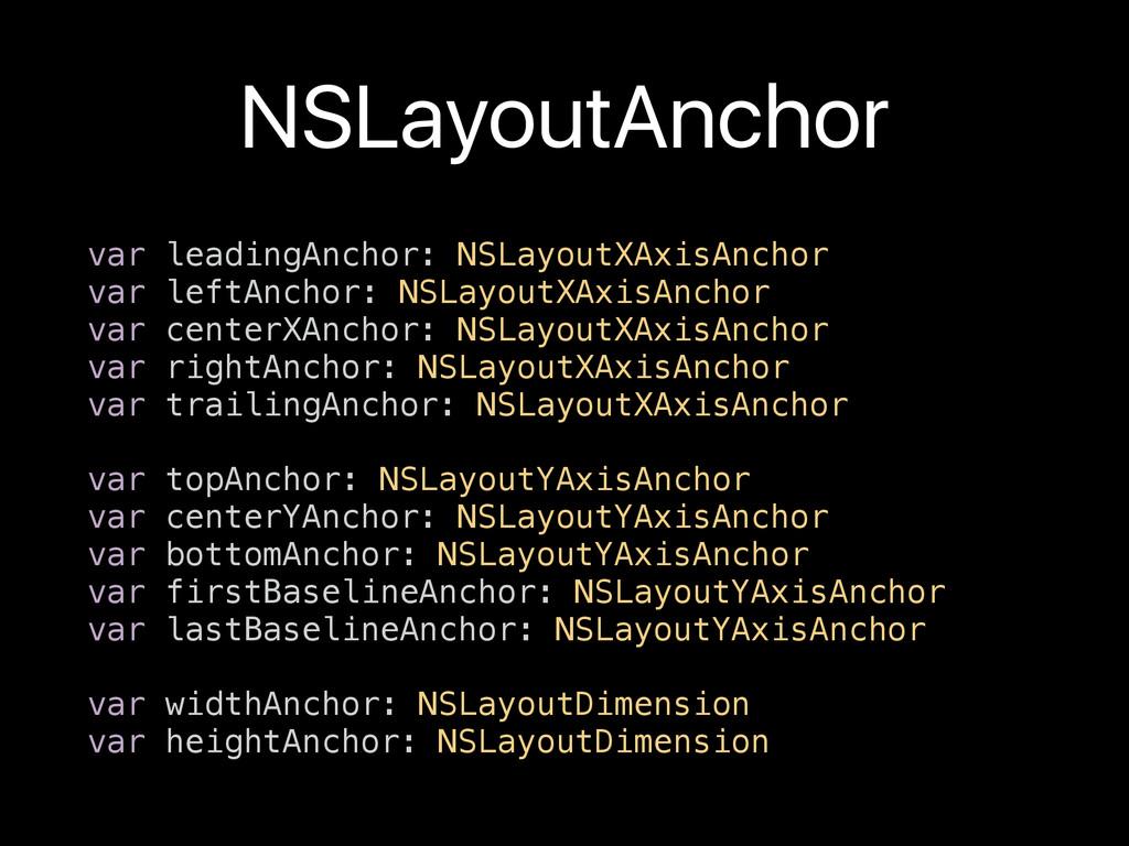 NSLayoutAnchor var leadingAnchor: NSLayoutXAxis...