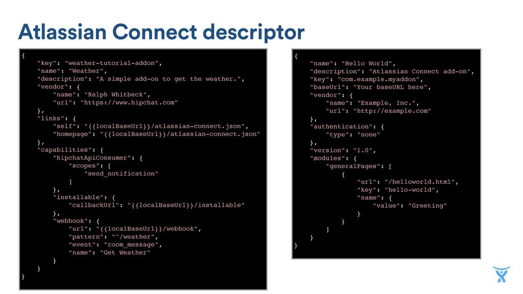 "Atlassian Connect descriptor { ""key"": ""weather-..."