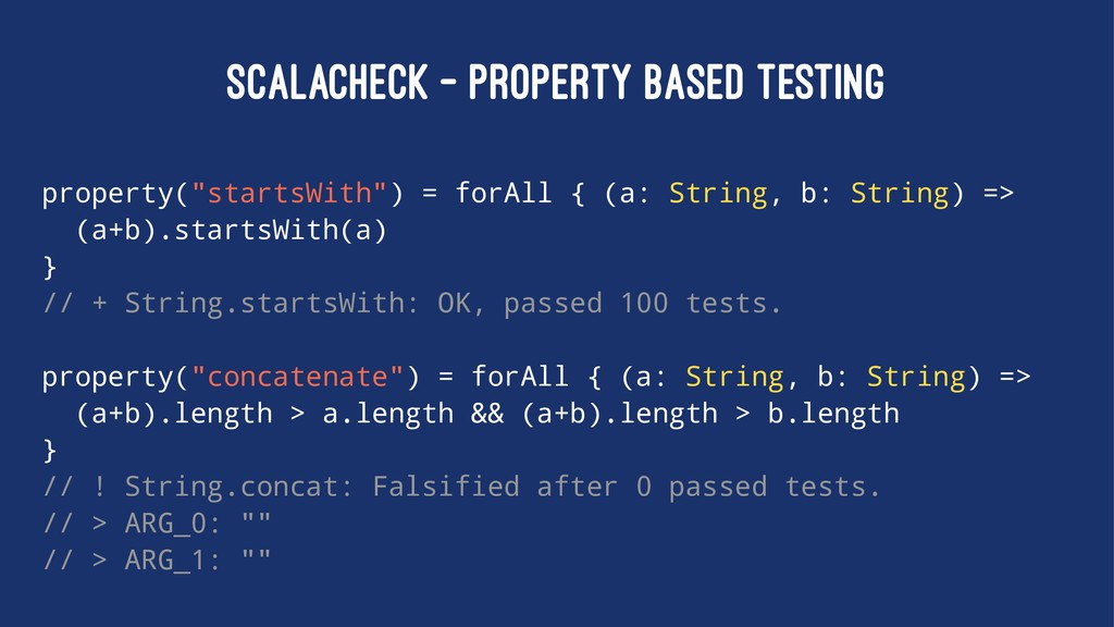 "SCALACHECK - PROPERTY BASED TESTING property(""s..."