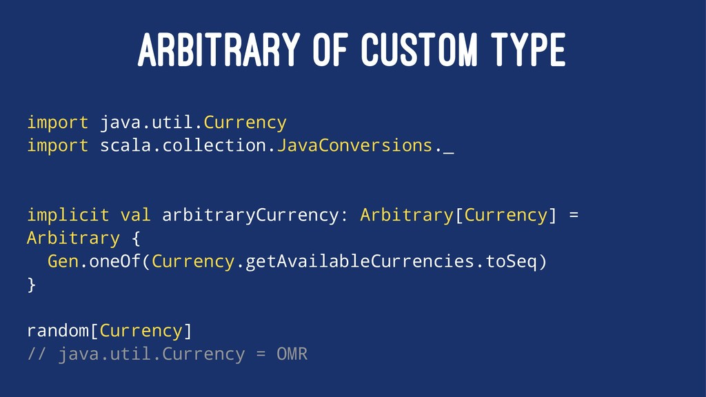 ARBITRARY OF CUSTOM TYPE import java.util.Curre...