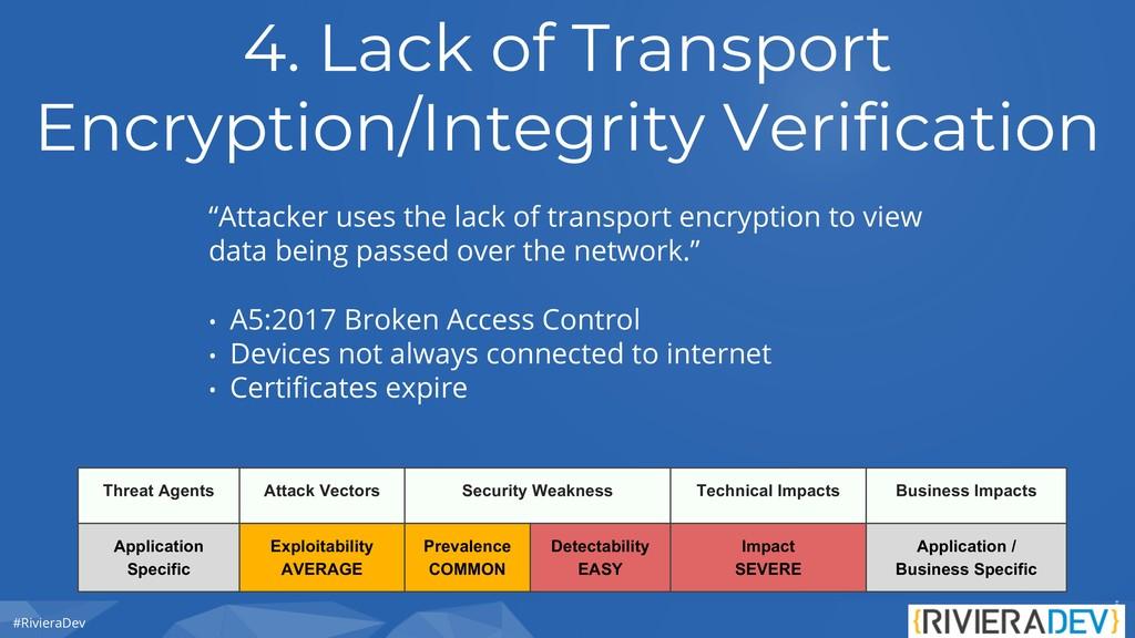 #RivieraDev 4. Lack of Transport Encryption/Int...