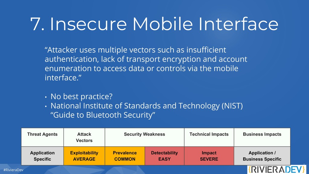 """#RivieraDev 7. Insecure Mobile Interface """"Attac..."""