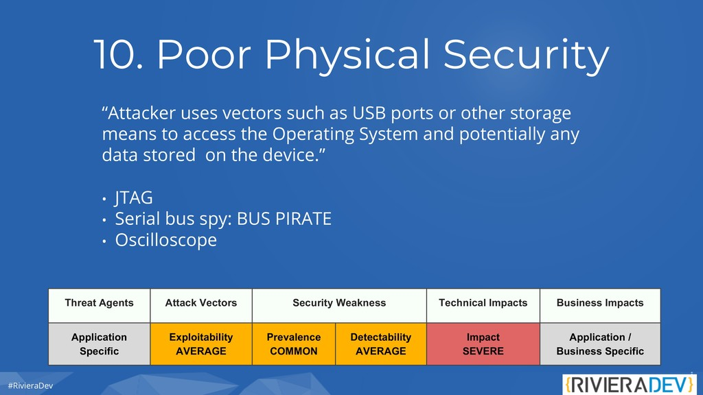 """#RivieraDev 10. Poor Physical Security """"Attacke..."""