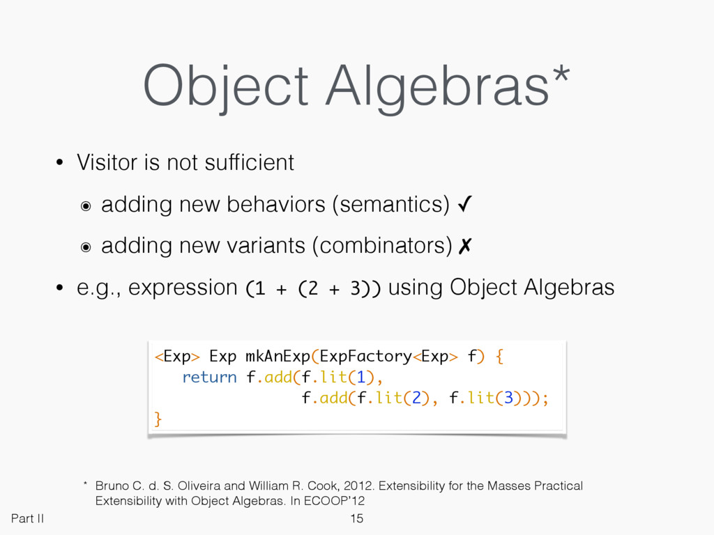 Object Algebras* • Visitor is not sufficient ๏ a...