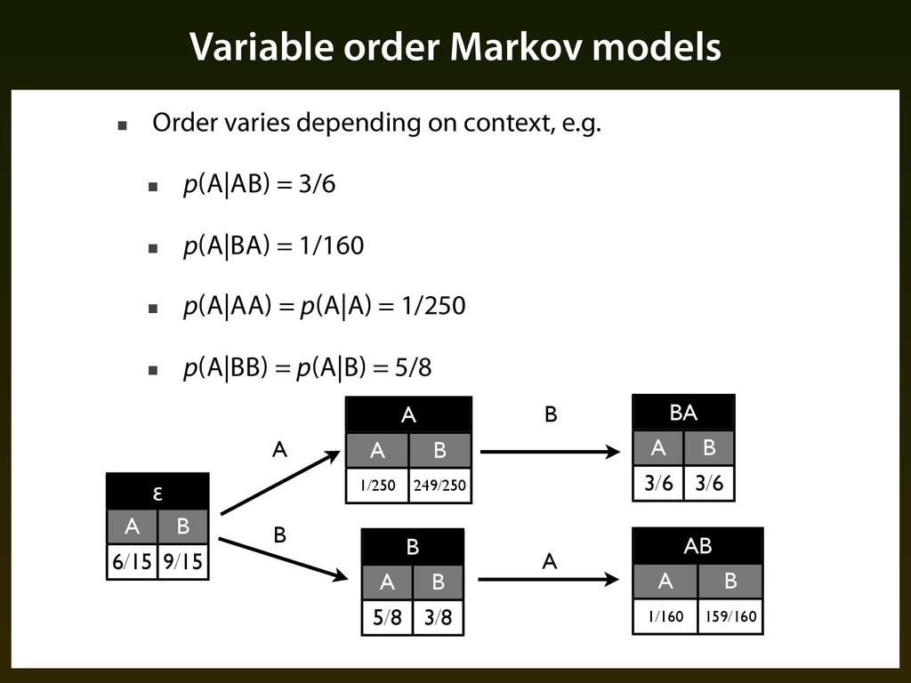 ■ Order varies depending on context, e.g. ■ p(A...