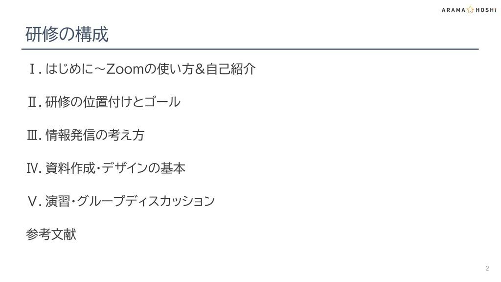 研修の構成 Ⅰ.はじめに~Zoomの使い方&自己紹介 Ⅱ.研修の位置付けとゴール Ⅲ.情報発信...