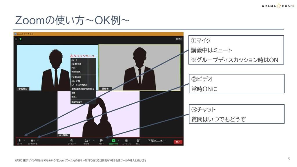 Zoomの使い方~OK例~ 5 ①マイク 講義中はミュート ※グループディスカッション時はON...