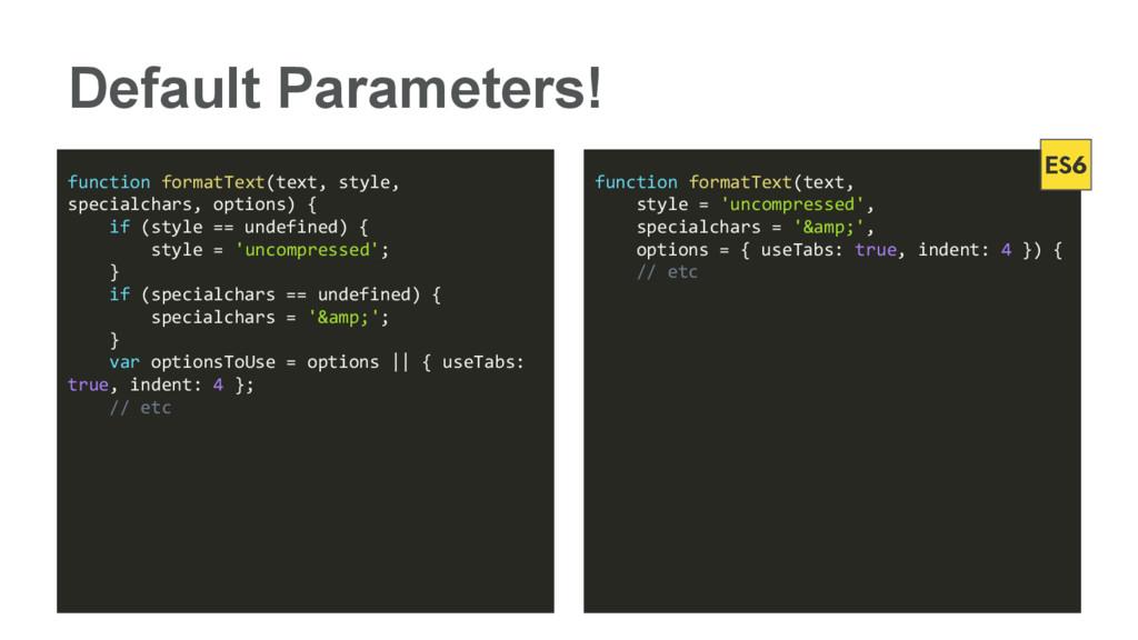 Default Parameters! function formatText(text, s...