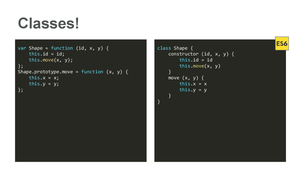 Classes! var Shape = function (id, x, y) { this...