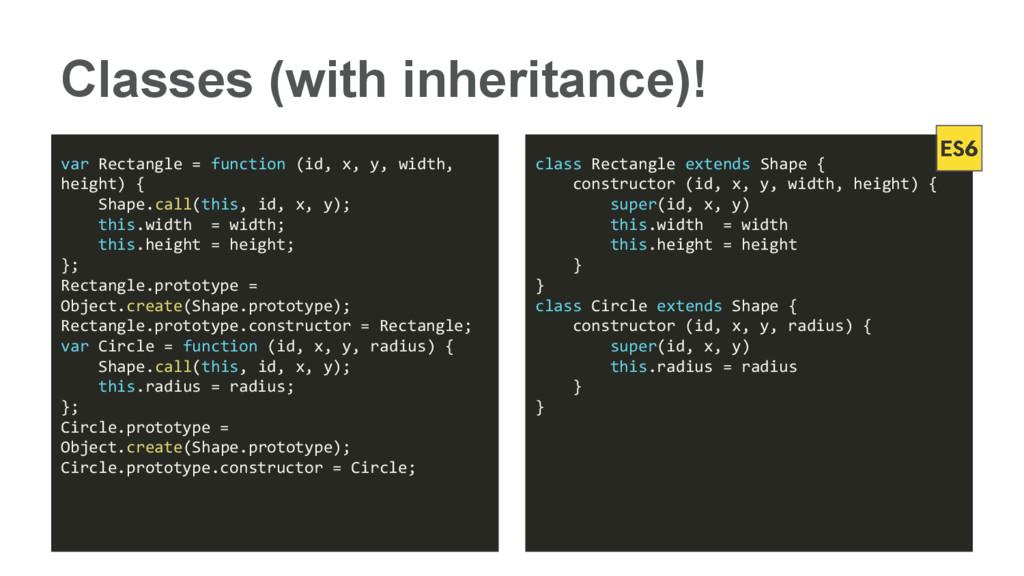Classes (with inheritance)! var Rectangle = fun...