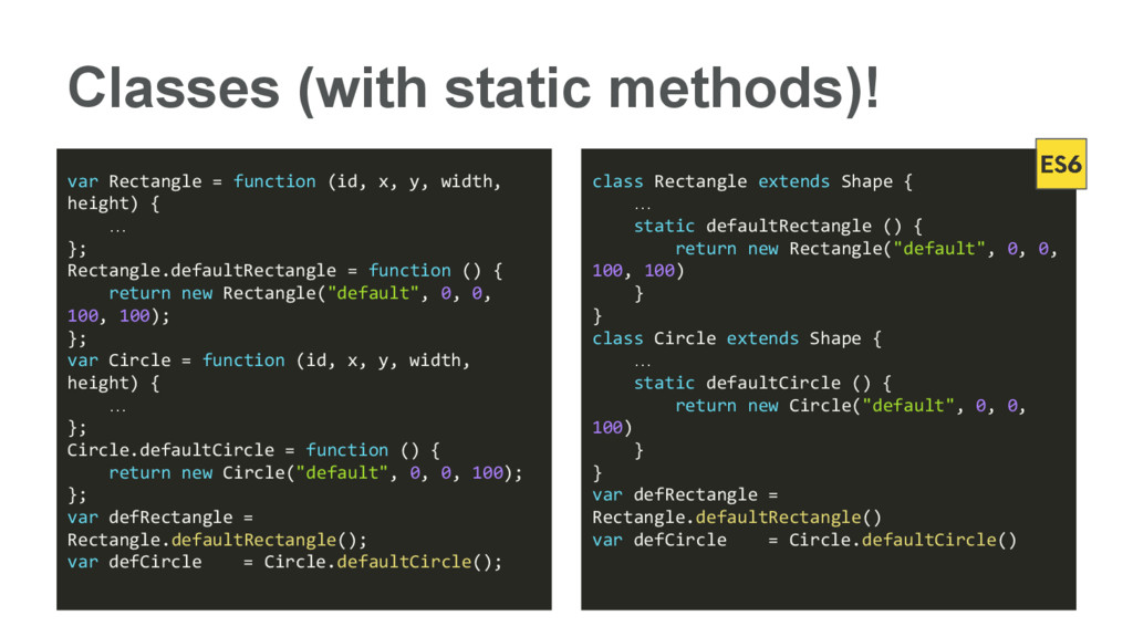 Classes (with static methods)! var Rectangle = ...