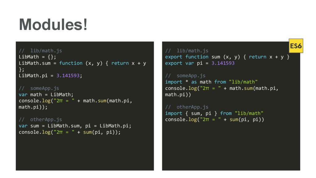 Modules! // lib/math.js LibMath = {}; LibMath.s...