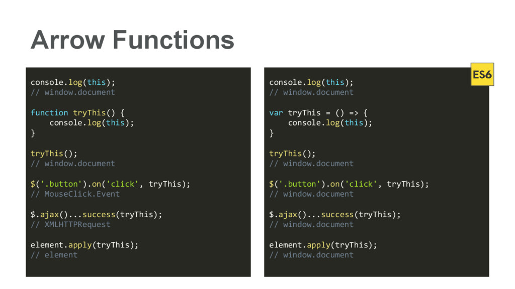 Arrow Functions console.log(this); // window.do...