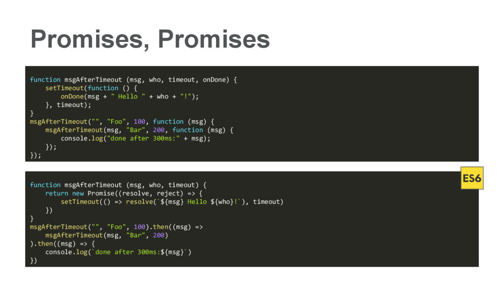 Promises, Promises function msgAfterTimeout (ms...
