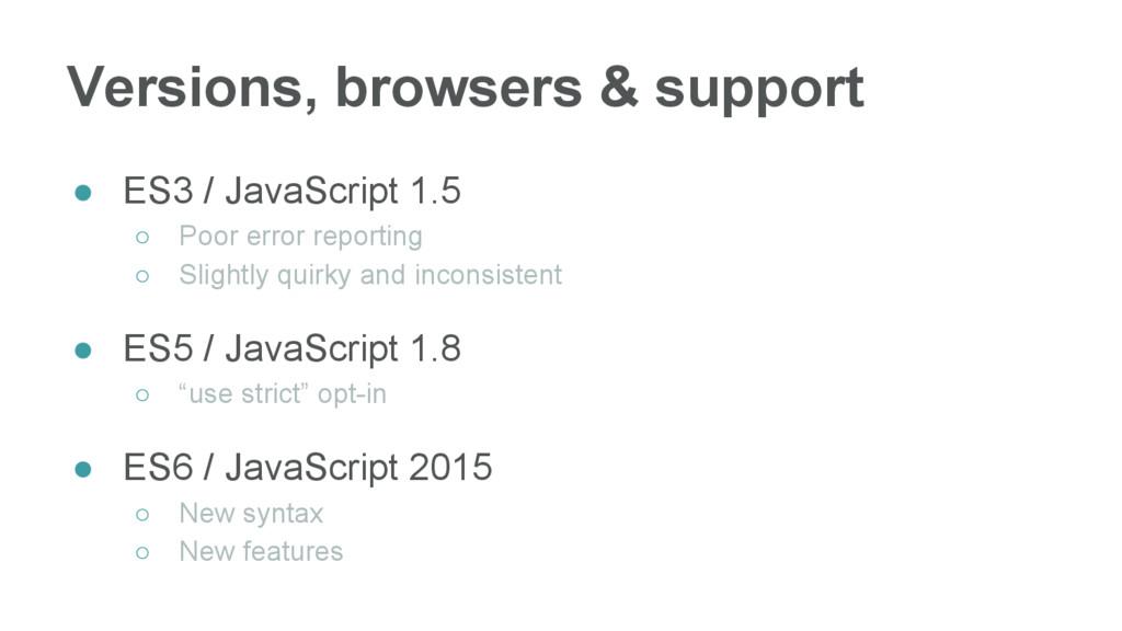 ● ES3 / JavaScript 1.5 ○ Poor error reporting ○...
