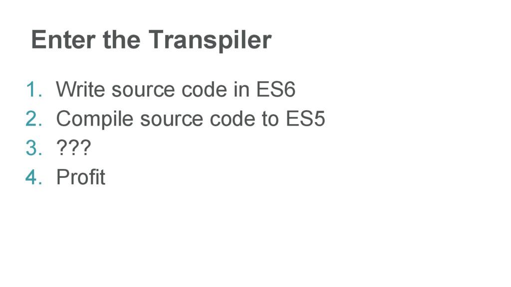 Enter the Transpiler 1. Write source code in ES...