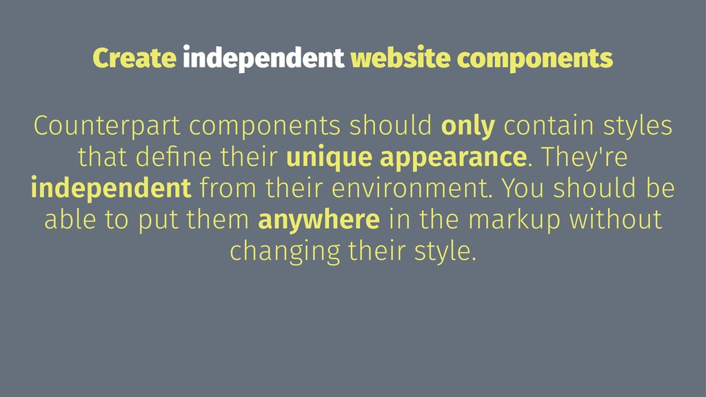 Create independent website components Counterpa...