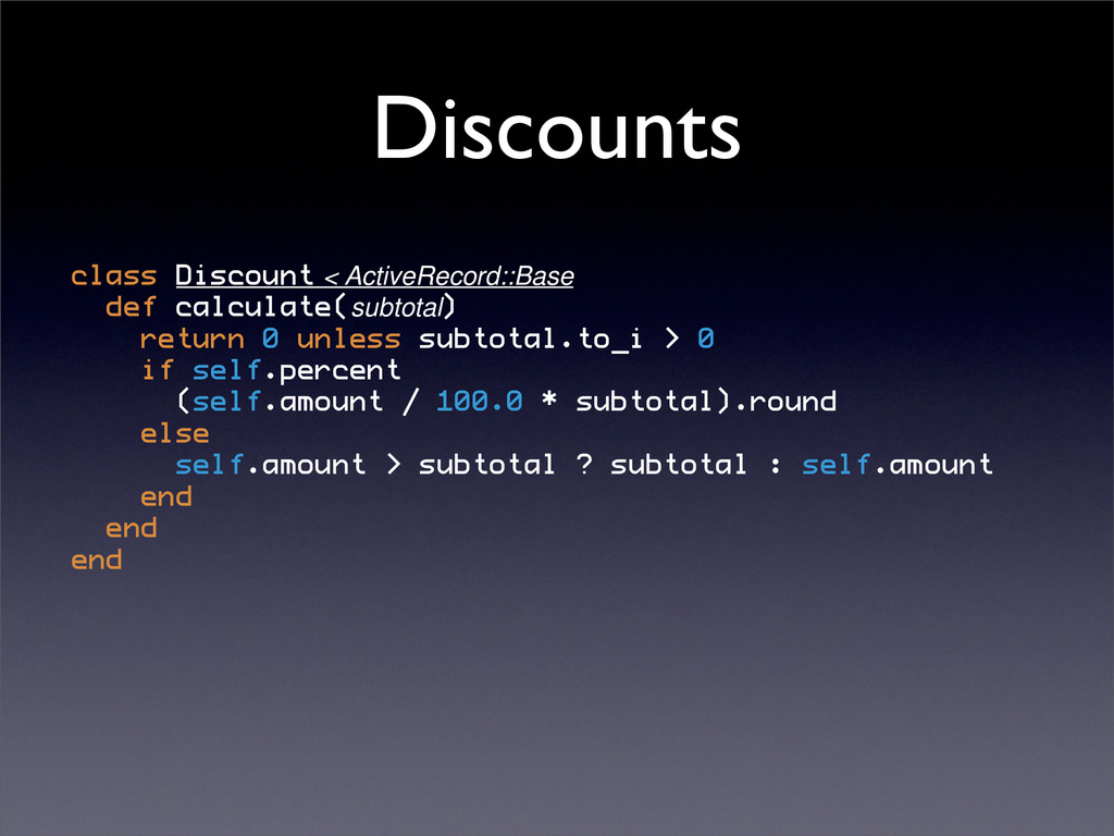 Discounts class
