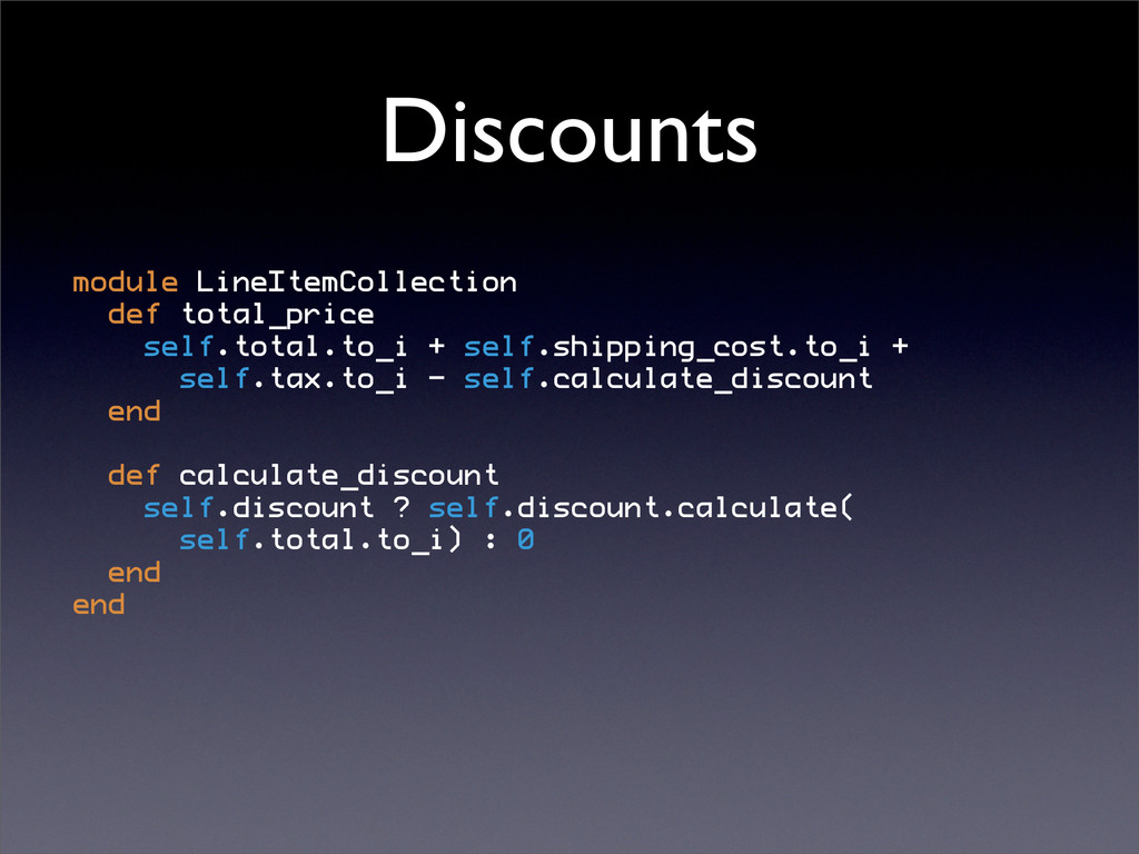 Discounts module