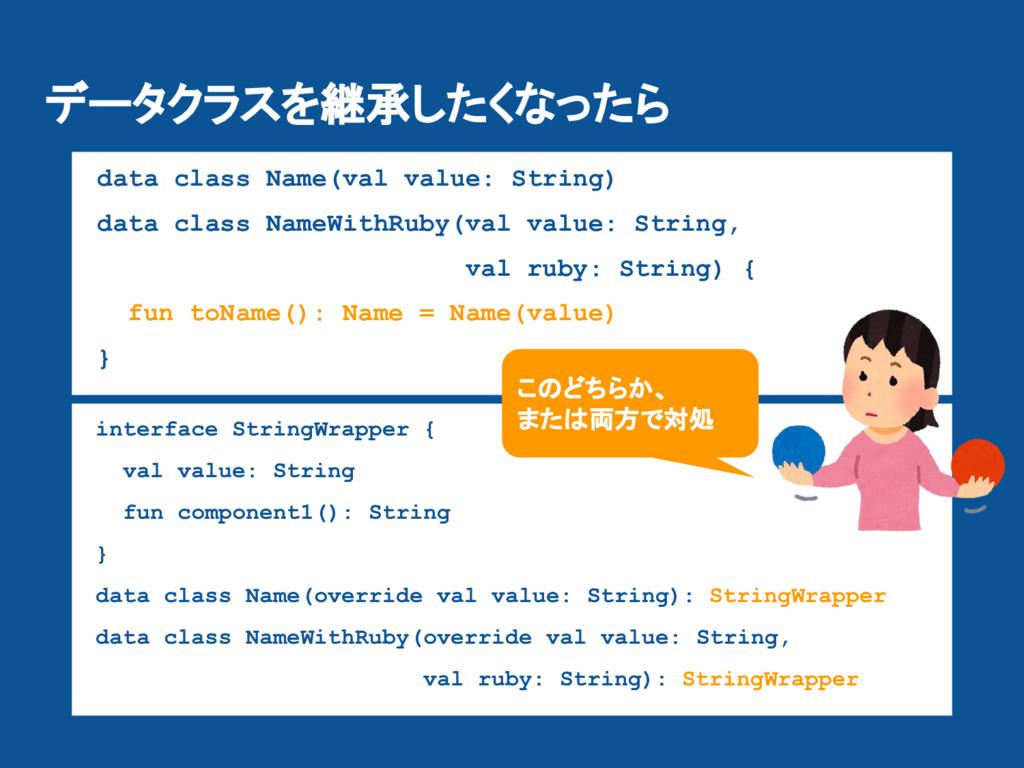 データクラスを継承したくなったら data class Name(val value: Str...