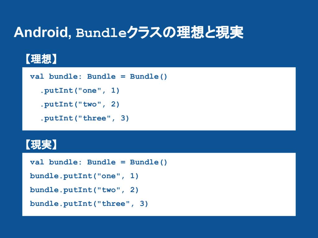 Android, Bundleクラスの理想と現実 val bundle: Bundle = B...