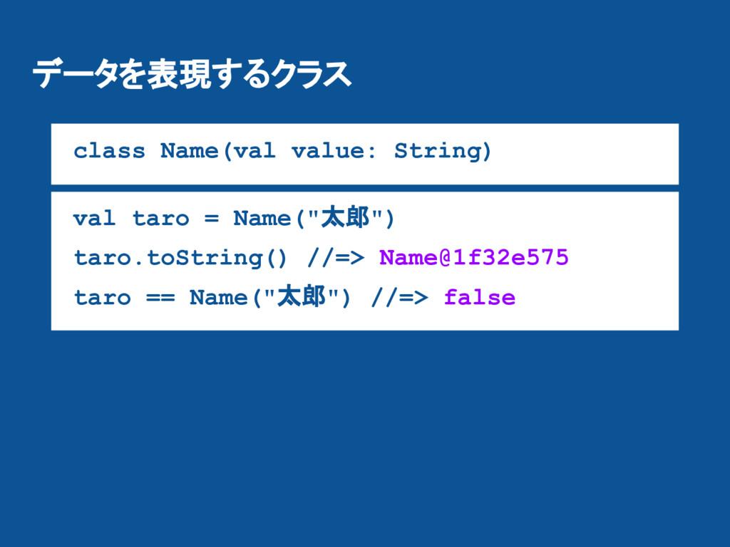 データを表現するクラス class Name(val value: String) val t...