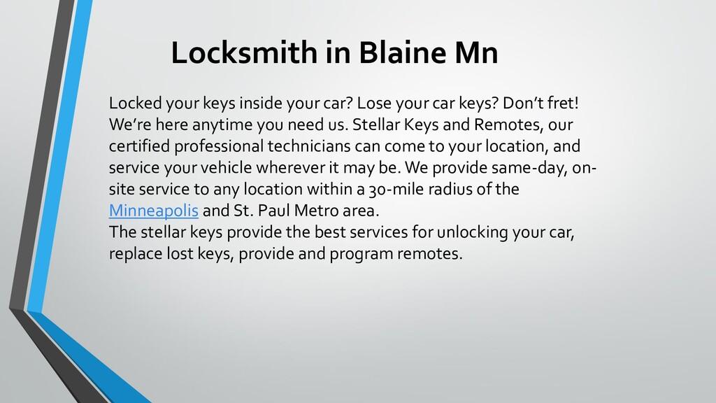 Locksmith in Blaine Mn Locked your keys inside ...