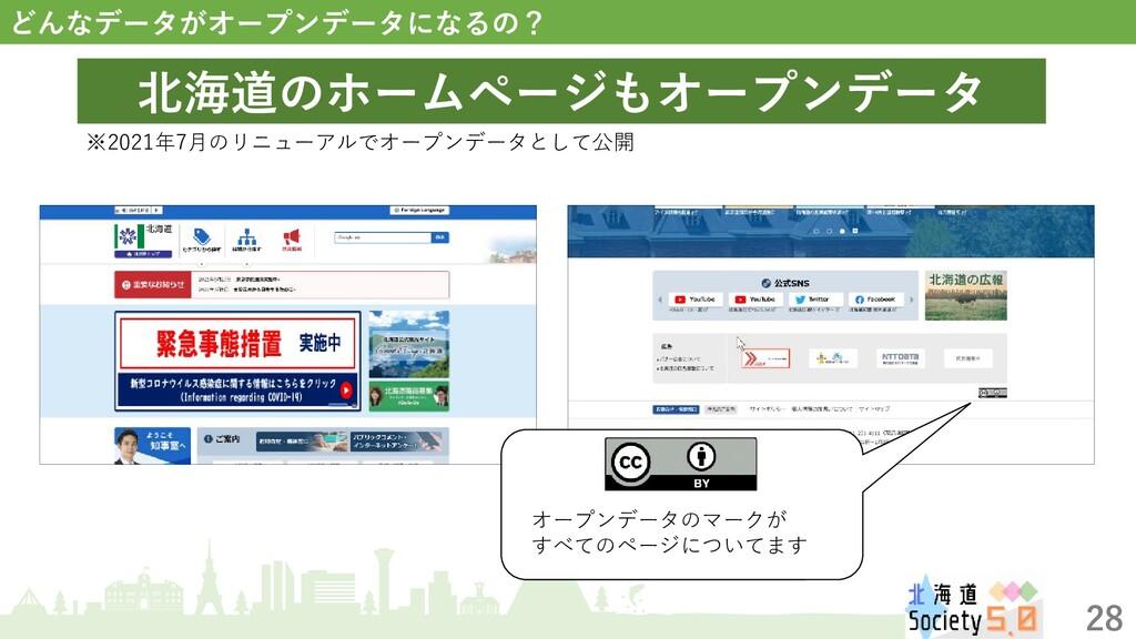28 どんなデータがオープンデータになるの? 北海道のホームページもオープンデータ ※2021...