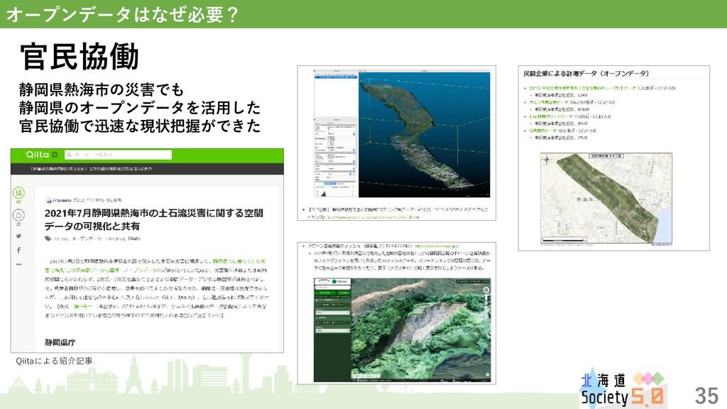 35 オープンデータはなぜ必要? 静岡県熱海市の災害でも 静岡県のオープンデータを活用した 官...