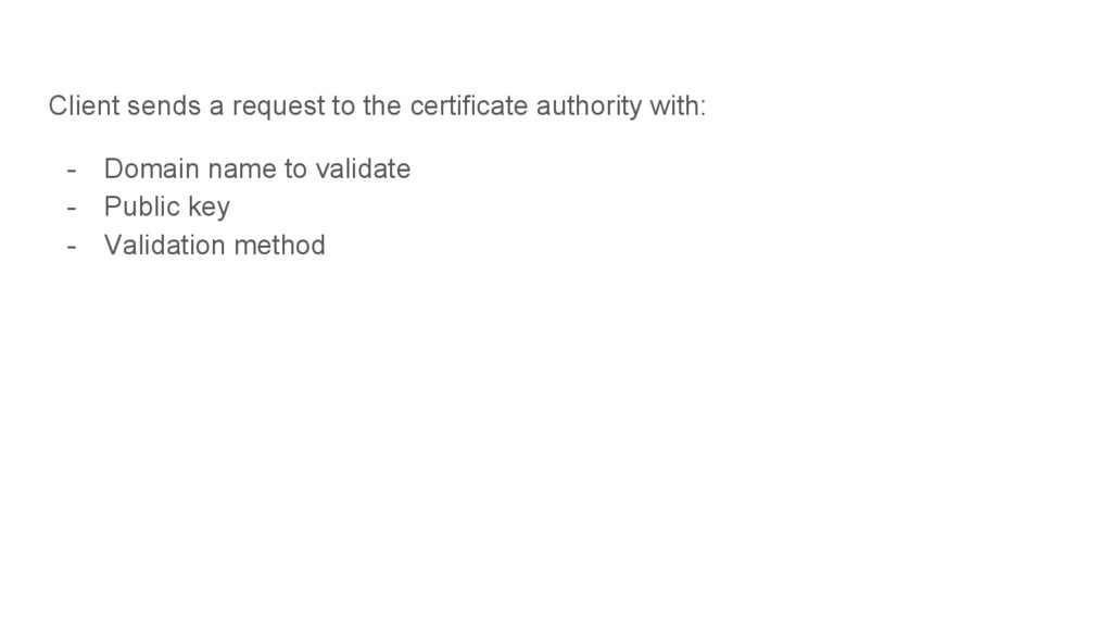 Client sends a request to the certificate autho...