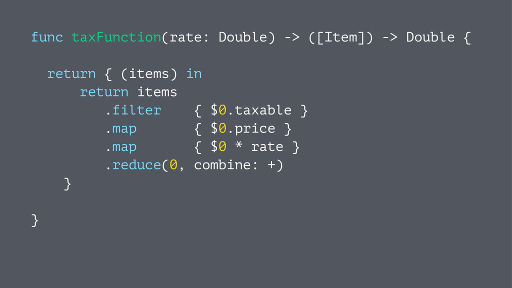 func taxFunction(rate: Double) -> ([Item]) -> D...