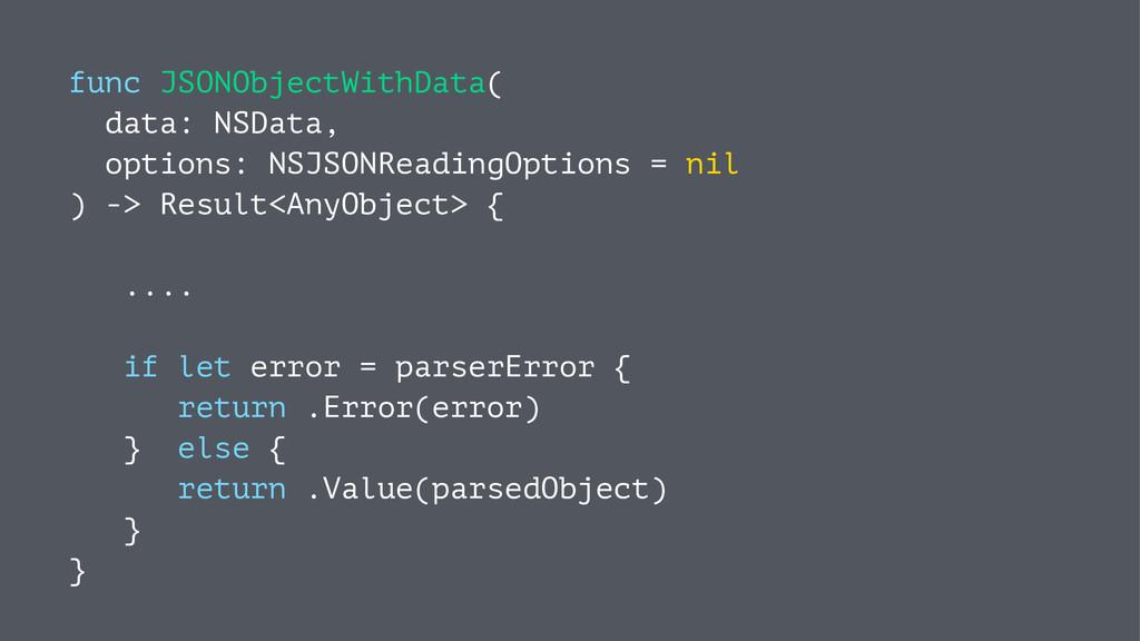 func JSONObjectWithData( data: NSData, options:...