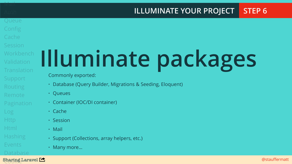 Sharing Laravel @stauffermatt ILLUMINATE YOUR PR...