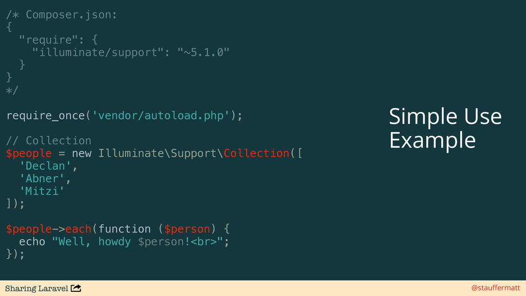 Sharing Laravel @stauffermatt /* Composer.json: ...