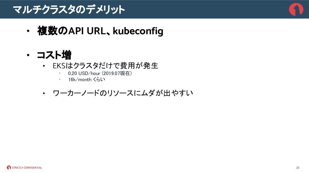 マルチクラスタのデメリット • 複数のAPI URL、kubeconfig • コスト増 • ...