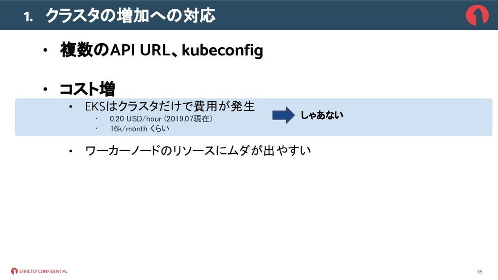 1. クラスタの増加への対応 • 複数のAPI URL、kubeconfig • コスト増 •...