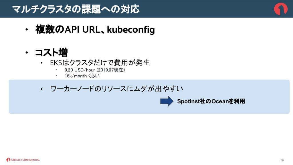 マルチクラスタの課題への対応 • 複数のAPI URL、kubeconfig • コスト増 •...